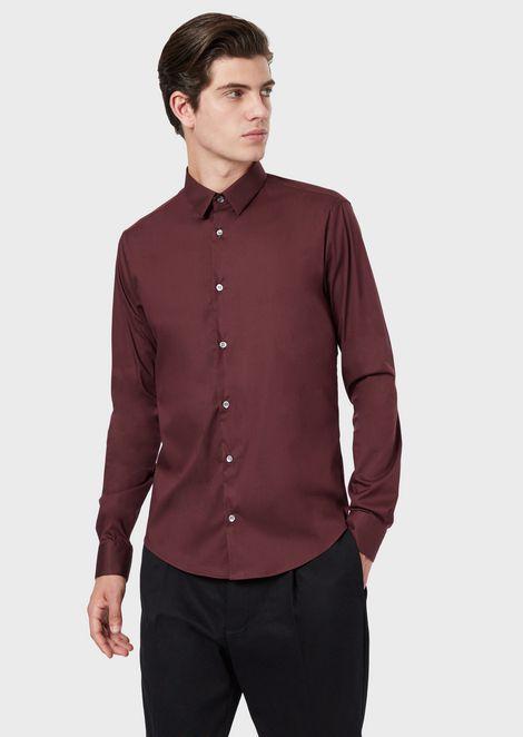 Armani 徽标带弹力府绸衬衫