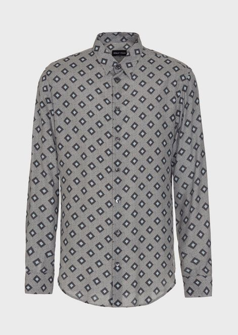 Slim-fit shirt in exclusive patterned fabric