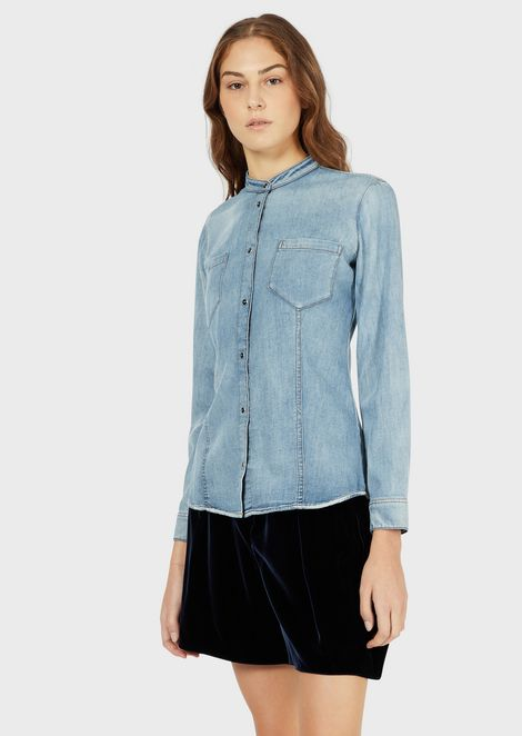 Denim shirt with guru collar