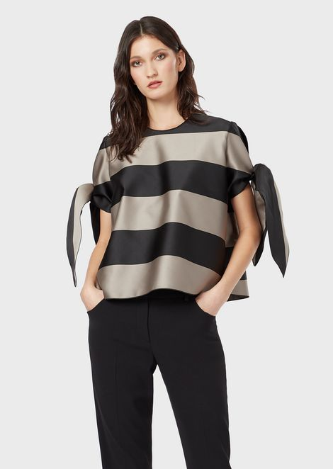 Striped satin blouse with bows