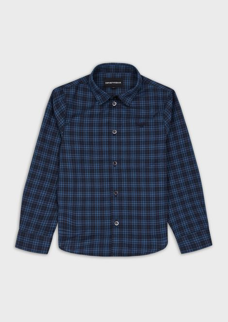 Pure cotton, plaid motif shirt