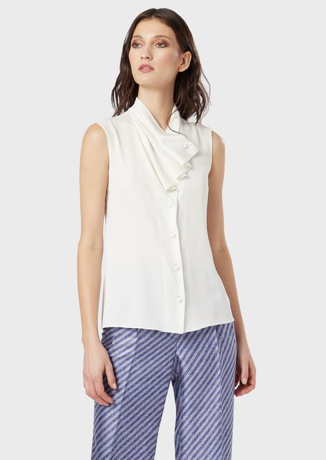 Sleeveless charmeuse silk shirt