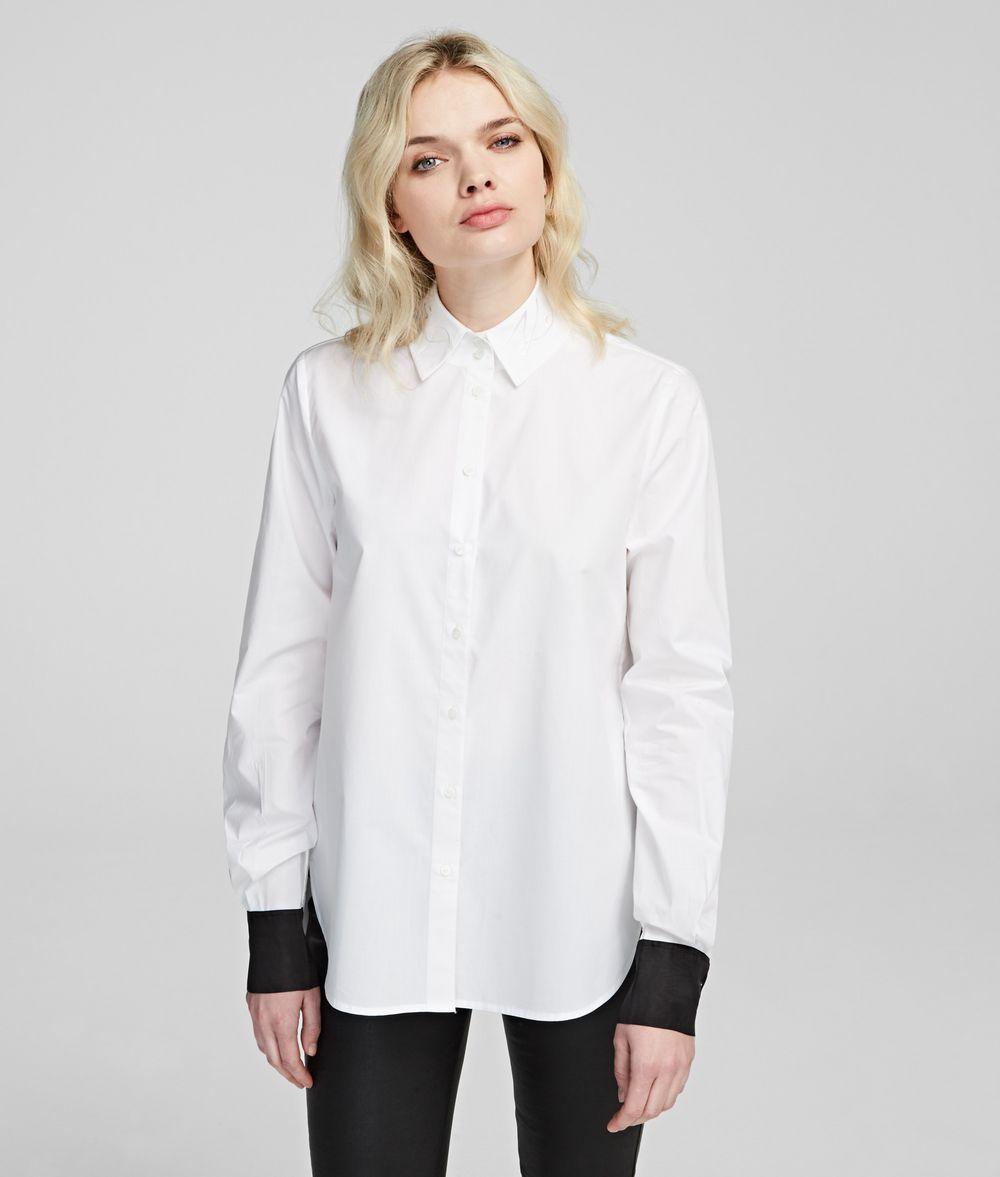 KARL LAGERFELD Logo-Collar Shirt Blouse Woman f