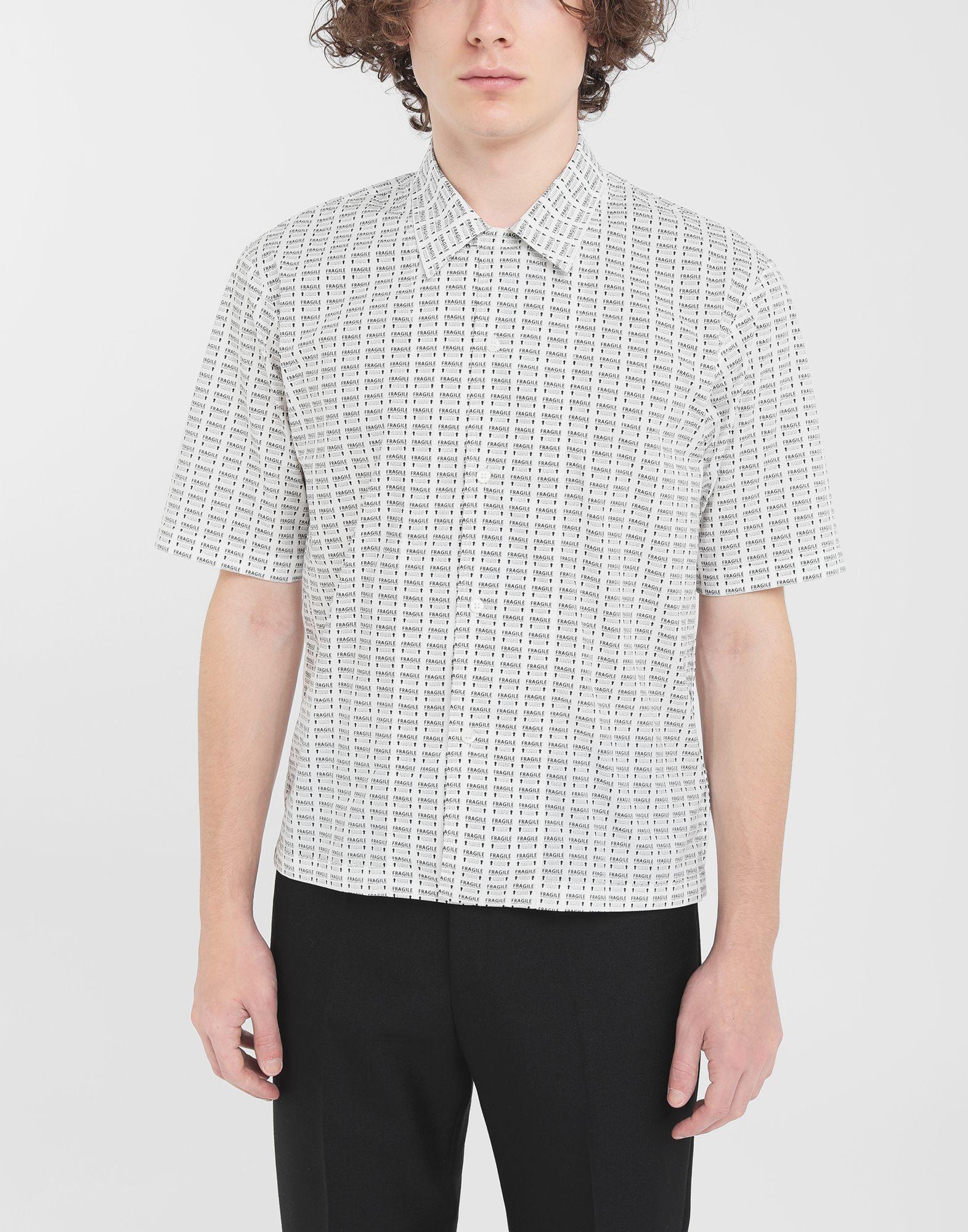 MAISON MARGIELA オールオーバー Fragileプリント シャツ 半袖シャツ メンズ r