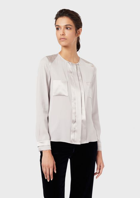 Silk charmeuse shirt with glossy satin details