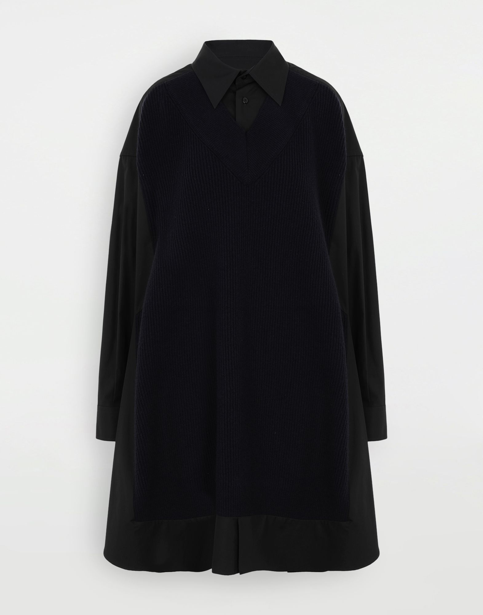 MAISON MARGIELA Spliced shirt with knit Long sleeve shirt Woman f
