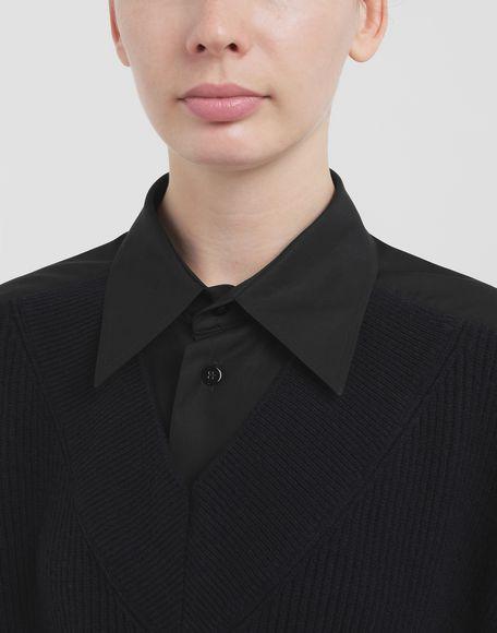 MAISON MARGIELA Spliced-Hemd mit Einsatz aus Strick Langarmhemd Dame a