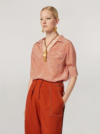 Marni Camisa de crepé de China con estampado Hive y bolsillo en el pecho Mujer f