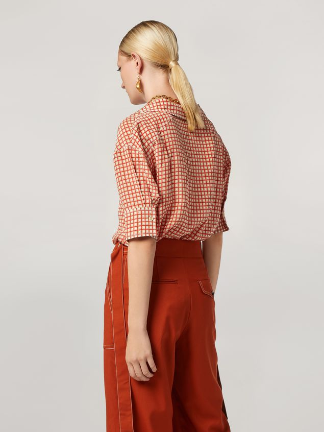 Marni Shirt in crepe de chine Hive print with chest pocket Woman