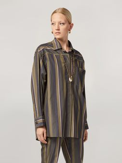 Marni Shirt in yarn-dyed striped poplin with contrast topstitching Woman