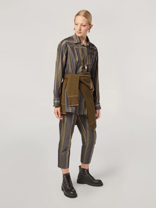 Marni Camisa de popelina de rayas con hilo teñido y pespunte en contraste Mujer - 5