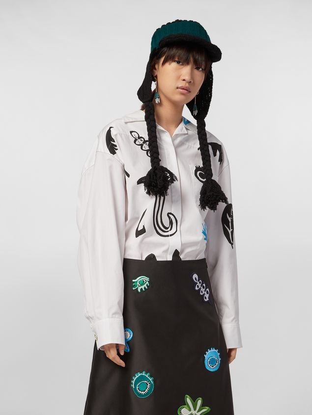 Marni Shirt in cotton poplin with placed Faces print and chest pocket Woman - 1