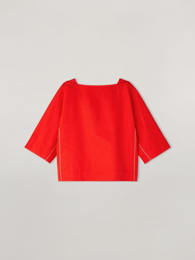 Marni Boat-neck shirt in cotton and linen drill Woman - 2