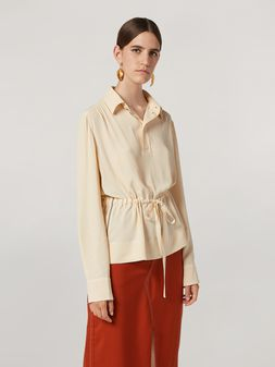 Marni Shirt in lightweight washed crepe with waist drawstring Woman