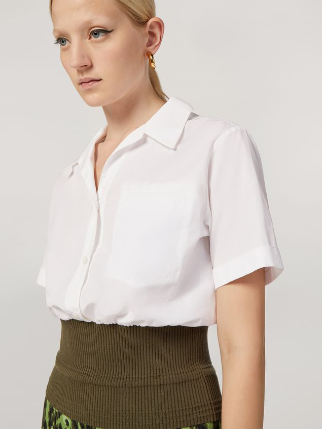 Marni Shirt in cotton poplin with knitted bottom Woman - 4