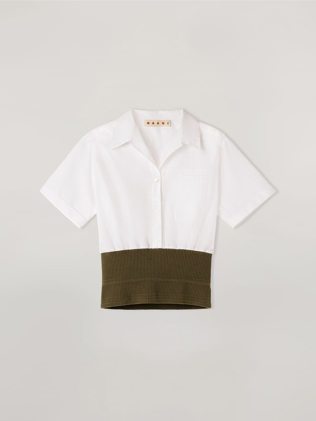 Marni Shirt in cotton poplin with knitted bottom Woman - 2
