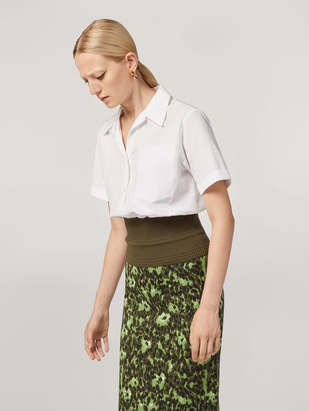 Marni Shirt in cotton poplin with knitted bottom Woman - 1
