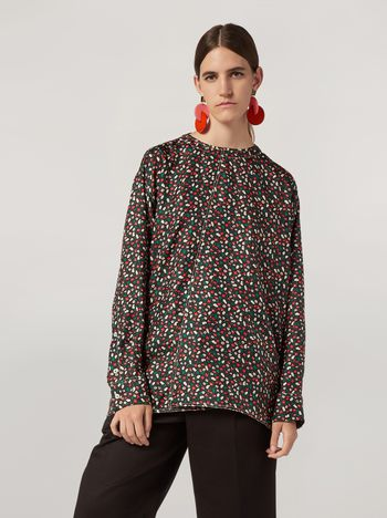 Marni Shirt in silk twill Liz print with back buttoning Woman f