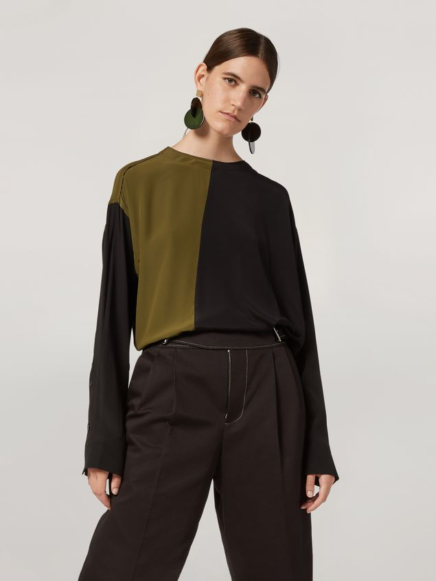 Marni Shirt in bi-coloured lightweight washed crepe Woman - 1
