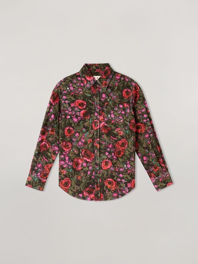 Marni Shirt in cotton poplin Amarcord print with contrast piping Woman - 2