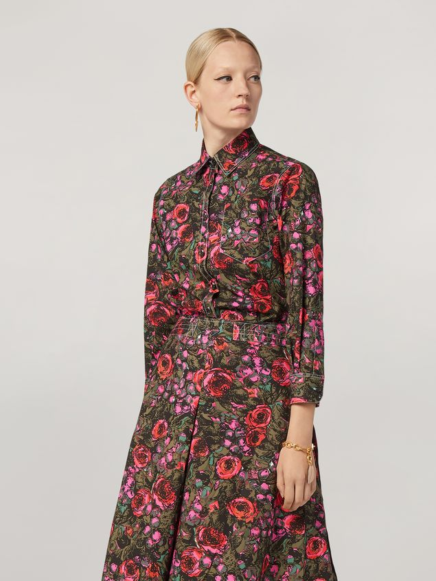 Marni Shirt in cotton poplin Amarcord print with contrast piping Woman - 1