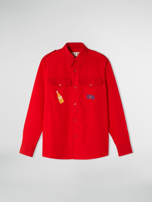 Marni Poplin shirt with epaulette Man - 2