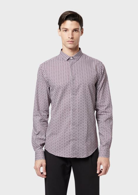 Poplin shirt with all-over logo