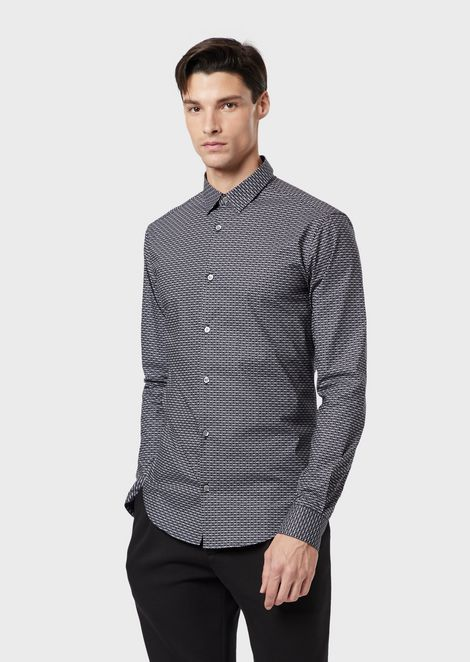 Stretch poplin shirt with all-over logo