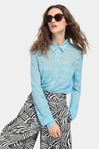 MISSONI Shirt Sky blue Woman - Front