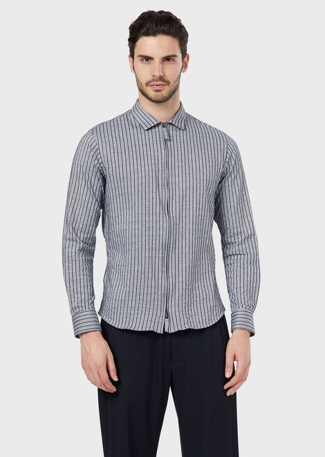 Slim-fit, striped jersey shirt with zip