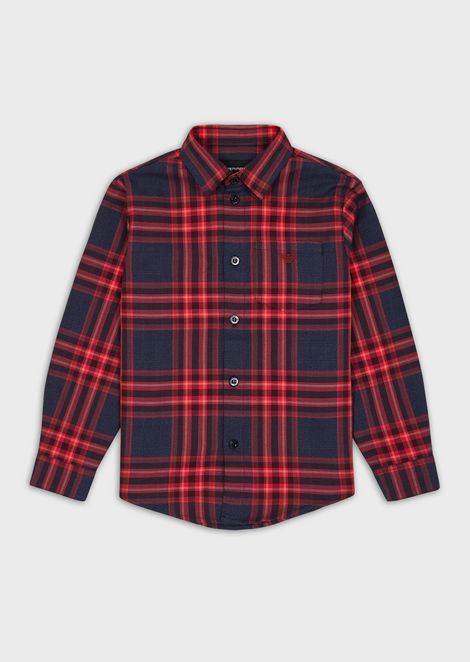 Plaid motif shirt with pocket