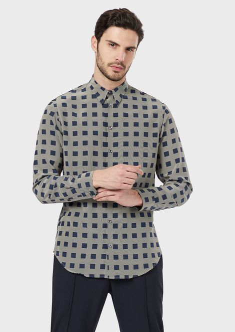 Patterned slim-fit shirt