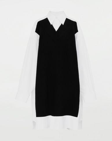 シャツ スプライスド シャツ ニット付き ブラック