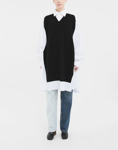 SHIRTS Spliced shirt with knit Black