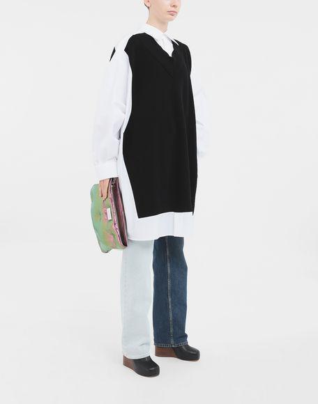 MAISON MARGIELA Camicia Spliced con pannelli in maglia Camicia maniche lunghe Donna d