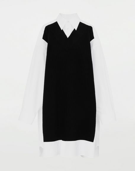 MAISON MARGIELA Camisa Spliced con tejido de punto Camisa de manga larga Mujer f