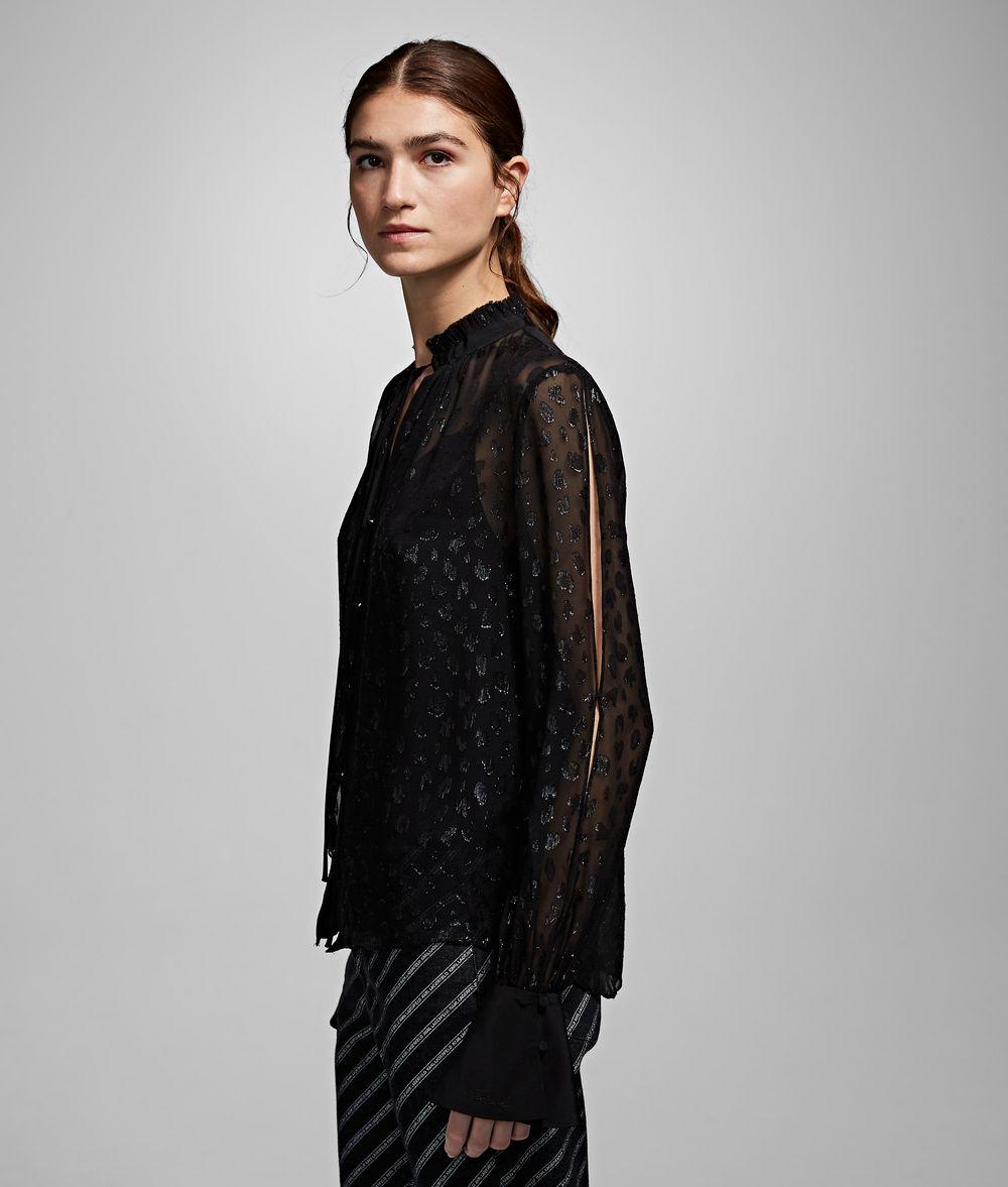 KARL LAGERFELD Leopard Jacquard Shirt Blouse Woman d