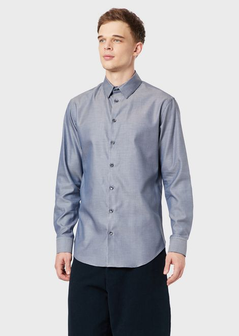 Classic slim-fit shirt made of exclusive micro-textured fabric