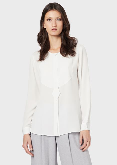 Silk sablé bib shirt