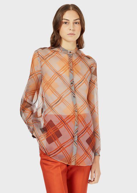 Tartan-print organza shirt