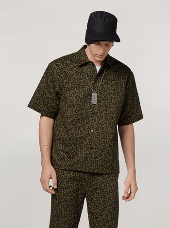 Marni Shirt in cotton and linen drill with Camo Cells print Man f