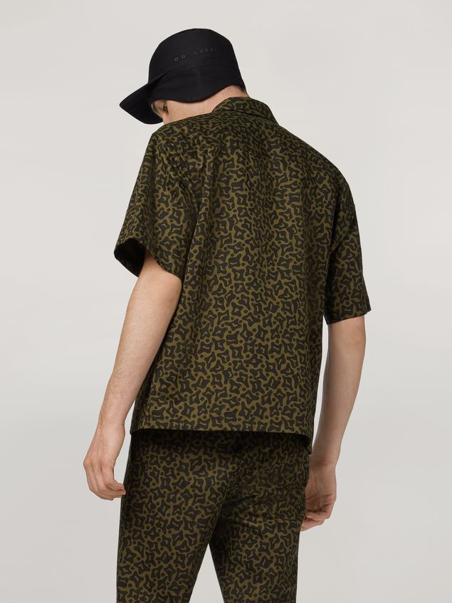 Marni Shirt in cotton and linen drill Camo Cells print Man