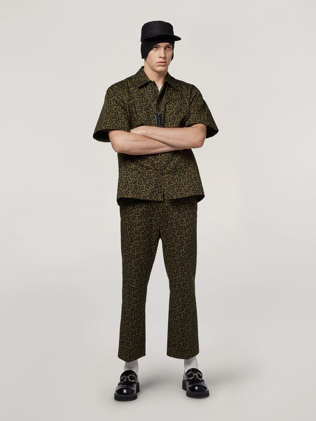 Marni Shirt in cotton and linen drill Camo Cells print Man - 5