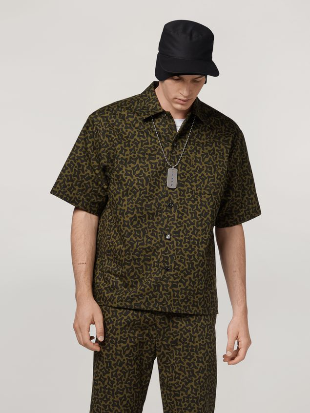 Marni Shirt in cotton and linen drill Camo Cells print Man - 1