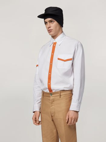 Marni Shirt in cotton with jersey contrast detailing Man f