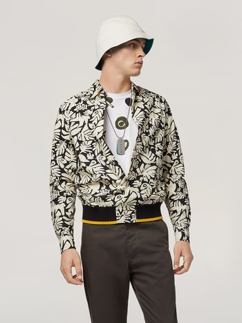 Marni Shirt in cotton poplin Eyed Leaves print Man f