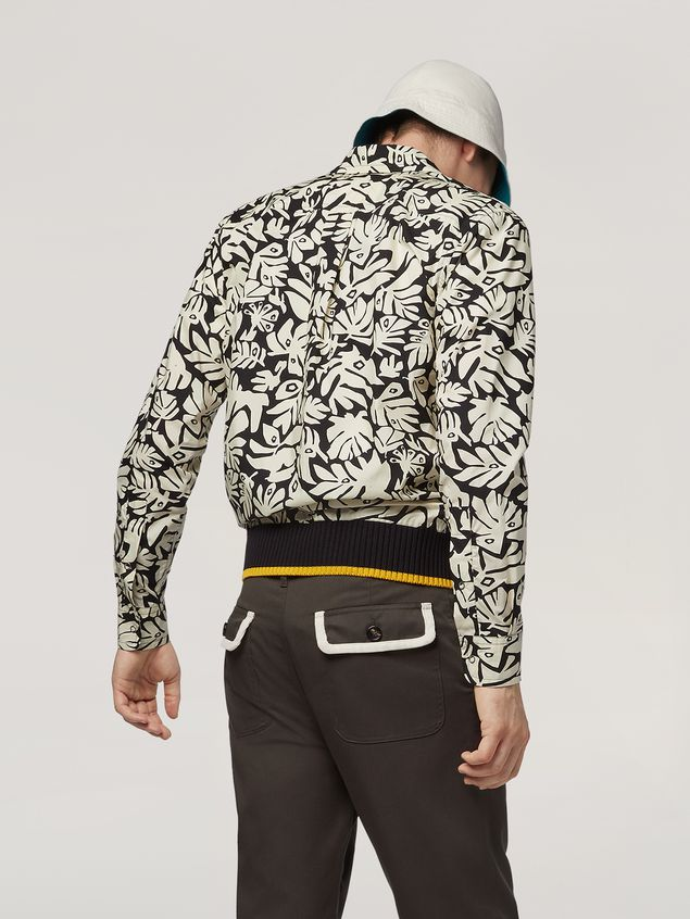 Marni Shirt in cotton poplin Eyed Leaves print Man