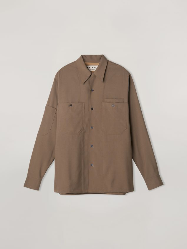 Marni Pressed shirt in tropical wool with pockets Man - 2