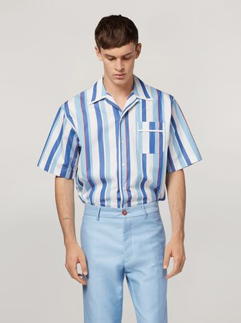 Marni Shirt in yarn-dyed striped cotton poplin Man f
