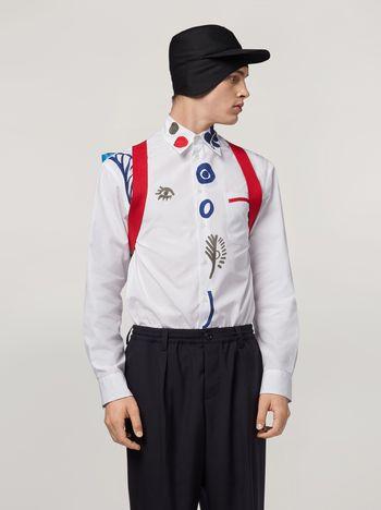 Marni Hemd aus Baumwollpopeline mit Motiven an der Vorderseite Herren f